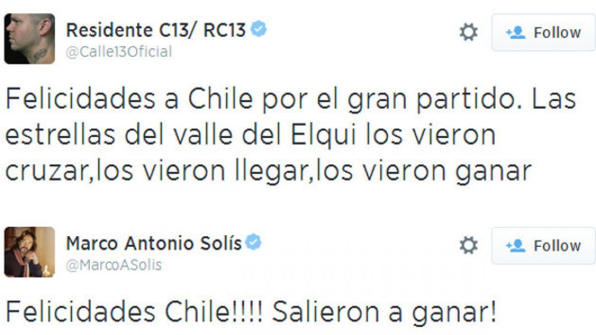Famosos celebran el triunfo de Chile en las redes sociales
