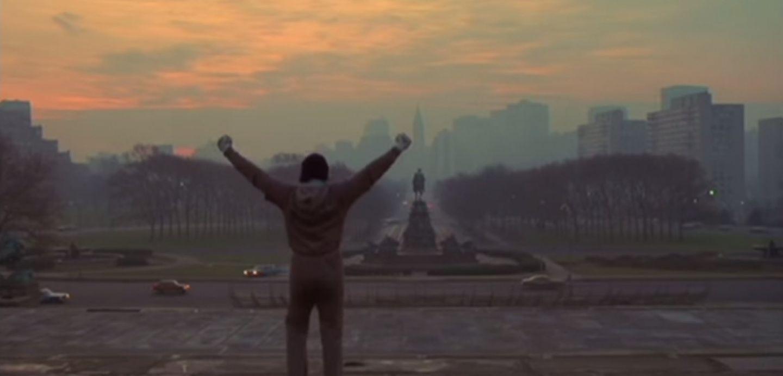 Festejar en la escalera de Rocky