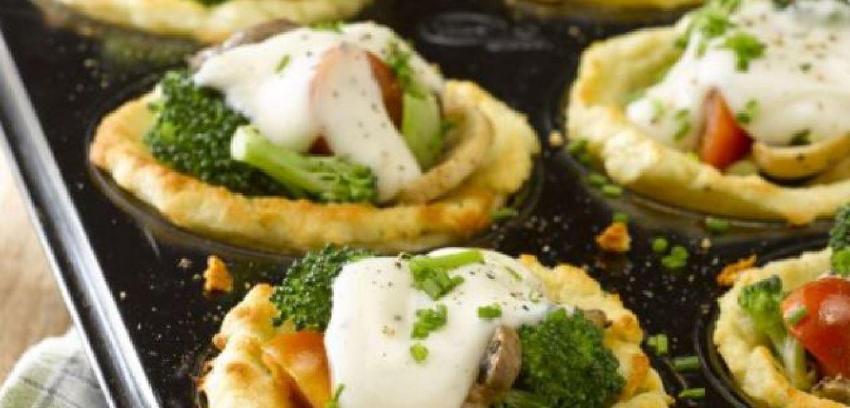 ¿Cómo preparar canastos de puré con verduras?