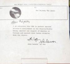 La carta de US$70.000 en la que John Lennon rechaza la Orden del Imperio Británico