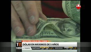 [T13 Tarde] Dólar cierra en máximos de más de cinco años tras retroceso del cobre