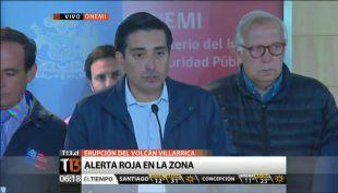 Gobierno anuncia alerta roja en Villarica hasta por lo menos las 9 AM a la espera de sobrevuelo