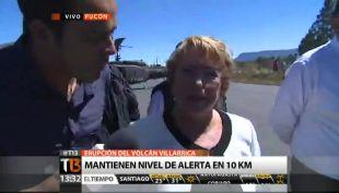 Bachelet y su reacción tras erupción: \