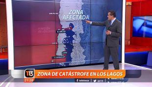 Zona de catástrofe en Los Lagos: El mapa que muestra las áreas afectadas con marea roja