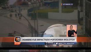 [VIDEO] Hombre es impactado por bomba Molotov
