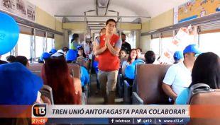 [VIDEO] Teletón 2016: tren de Antofagasta traslada a gente para colaborar