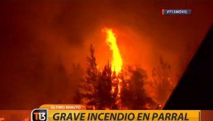 Incendio forestal en Parral continúa en combate: así se encuentra