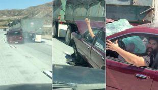 [VIDEO] Chofer de camión arrastra a automovilista por kilómetros sin darse cuenta