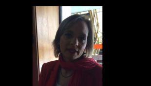 Carolina Goic habla con Fanpage de Teletrece a la salida de En Buen Chileno