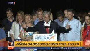 [VIDEO] Sebastián Piñera realiza primer discurso como Presidente electo
