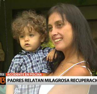 [T13] Padres de niño que cayó a piscina relatan su milagrosa recuperación