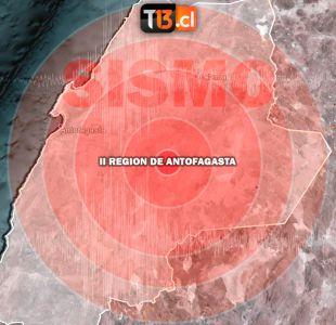 Sismo se registró en la región de Antofagasta