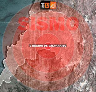 Sismo de magnitud 4.9 Richter se percibe en la Región Metropolitana y de Valparaíso