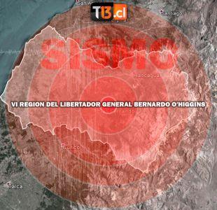 Se percibe sismo de menor intensidad en regiones de Valparaíso, O´Higgins y Maule