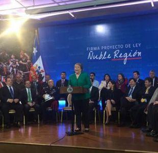 Bachelet firmó proyecto de ley para crear la nueva región del Ñuble