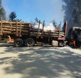 Biobío: Tres camiones quemados en nuevo ataque incendiario