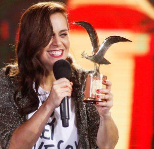 Natalia Valdebenito disfrutando su éxito en Viña 2016