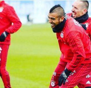 [FOTO] Arturo Vidal se muestra feliz junto a Franck Ribery en práctica de Bayern Munich