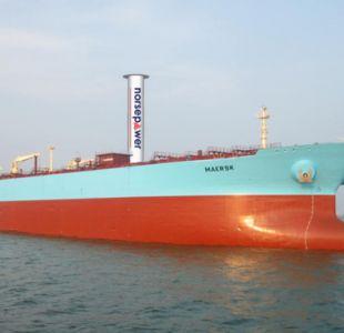 El tanquero Maersk será adaptado con dos velas rotativas de Norsepower de 30 x 5 metros. Es la primera vez que se utiliza en un buque de carga la tecnología que inventó Anton Flettner. Imagen: Cortesía de Norsepower