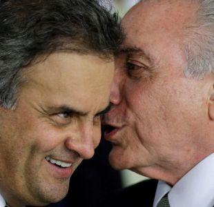 Michel Temer y el senador Aécio Neves.
