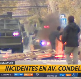 Encapuchados prenden barricadas en Avenida Condell