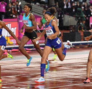 La estadounidense Felix gana bronce en 400 metros e iguala récord de Bolt y Ottey