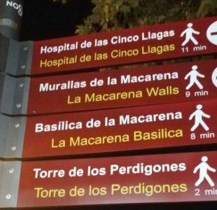 La divertida (y viral) traducción de un cartel turístico en Sevilla