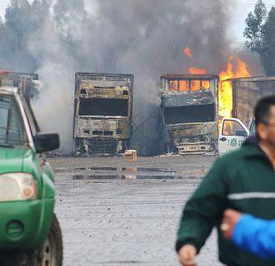 Ataque incendiario a 18 camiones en Temuco