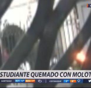 Manifestante resulta quemado con bomba molotov en Internado Nacional Barros Arana