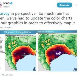 Tormenta Harvey obligó al Servicio Meteorológico Nacional a incluir nuevos colores en sus mapas