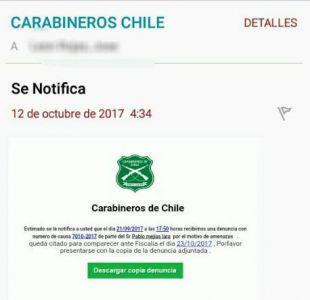 Carabineros alerta sobre e-mail con notificación de denuncia falsa