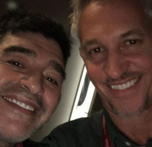 La foto de la reunión entre Lineker y Maradona antes del sorteo