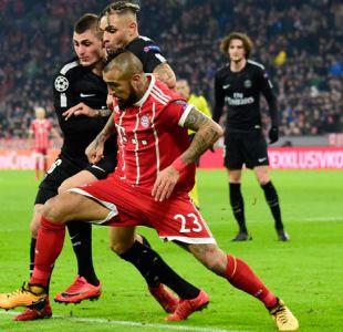 Arturo Vidal juega en triunfo del Bayern Munich sobre el PSG en la Champions