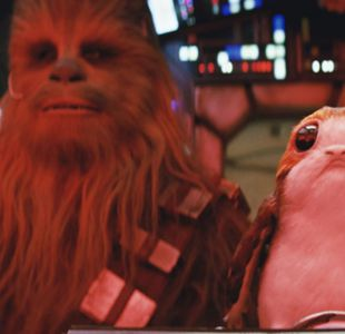 Chewbacca y su amigo porg