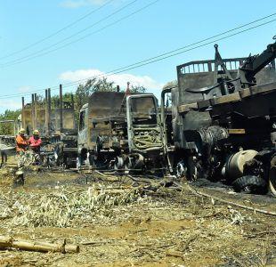 Encapuchados quemaron cuatro camiones en La Araucanía
