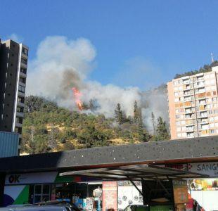 Bomberos trabaja para controlar incendio en Cerro San Cristóbal