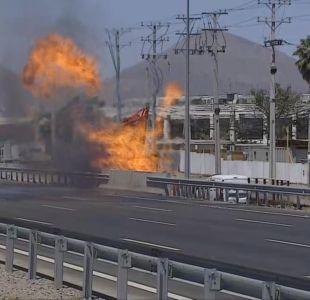 Tránsito interrumpido en ruta 5 Norte debido a fuga de gas