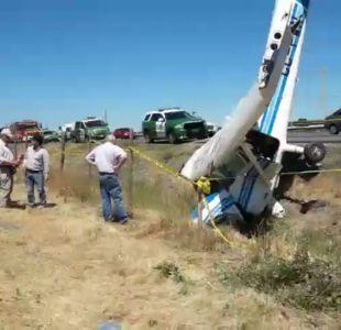 Avioneta capotó a un costado del aeródromo Pangal en San Javier