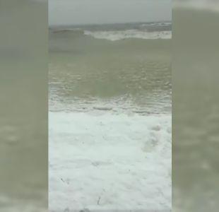 El sorprendente momento en que las olas se congelan al llegar a orilla