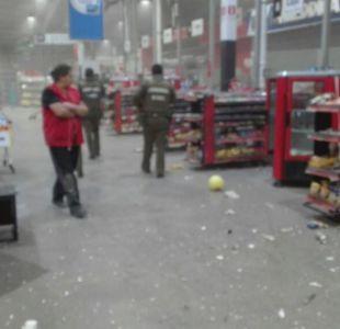 Robo frustrado destruye parte de supermercado en Quilicura