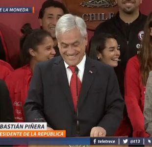 [VIDEO] Se lo tomó con humor: el lapsus de Piñera al recibir a La Roja femenina en La Moneda