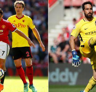 Alexis Sánchez y Claudio Bravo celebran en la última fecha de la Premier League