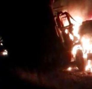 [VIDEO] La Araucanía: Ataque incendiario destruye tres camiones en Collipulli