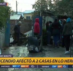 [VIDEO] Incendio afectó a dos viviendas en Lo Hermida: Bomberos tuvo problemas con grifos