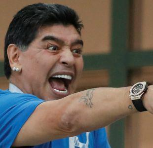 [VIDEO] Como un hincha más: El eufórico festejo de Maradona tras gol de Colombia a Inglaterra
