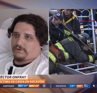 [VIDEO] Hombre que cayó a socavón en San Bernardo: Se me vinieron a la cabeza mis tres hijos