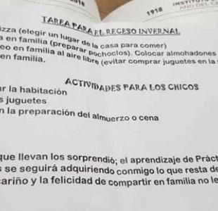 Profesora argentina dio las mejores tareas para vacaciones de invierno
