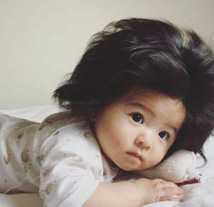 Un bebé con espectacular cabellera se toma las redes sociales