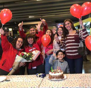 [FOTOS] Metro celebró el cuarto cumpleaños de un niño que nació en Estación Tobalaba