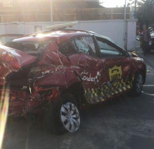 Auto de seguridad ciudadana de Las Condes choca y atropella a una persona tras persecución